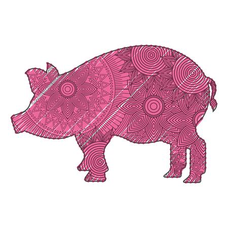 hand getekend voor volwassen kleurplaten met varken vectorillustratie Stock Illustratie