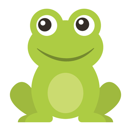 frog cute animal sitting cartoon vector illustration