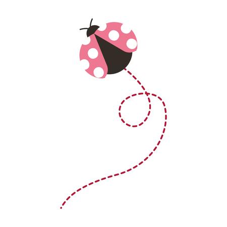 かわいいフライングレディバグ動物漫画ベクトルイラスト