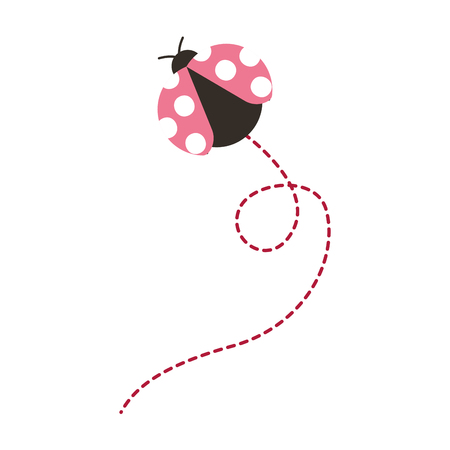 cute flying ladybug animal cartoon vector illustration