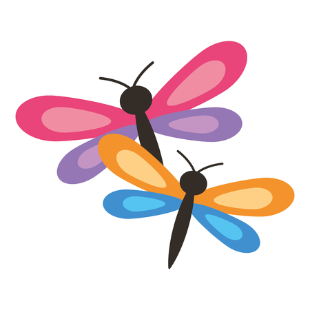 two dragonflies cute animal cartoon vector illustration