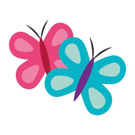 귀여운 블루와 핑크 나비 봄 동물 벡터 일러스트 레이션