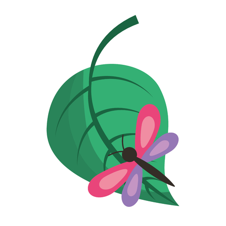 green leaf with butterfly nature vector illustration Illustration