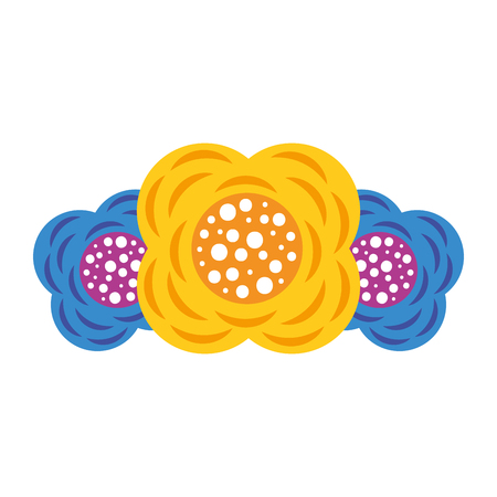 Three flower natural decoration ornament image vector illustration.