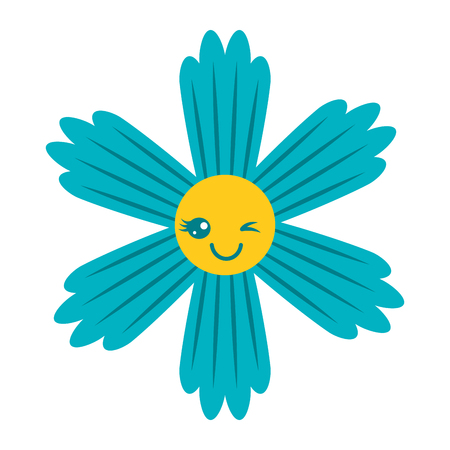 cute blue flower cartoon vector illustration