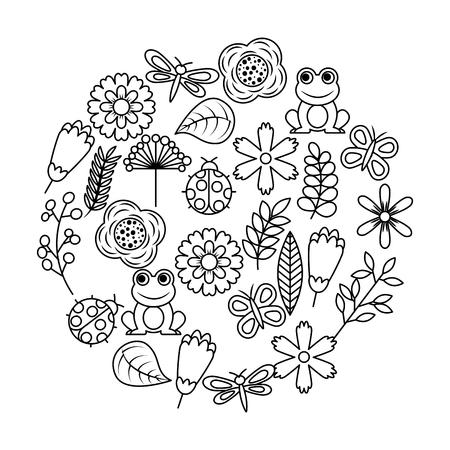 Set van lente thema aard bloemen liefde vogels vlinders lieveheersbeestjes kikker libel vector illustratie overzicht afbeelding