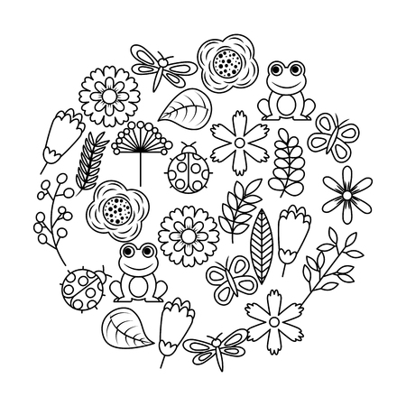 Set of spring theme nature flowers love birds butterflies ladybugs frog dragonfly vector illustration outline image