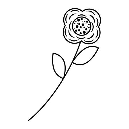 Flower stem leaves nature petals decoration vector illustration outline image Иллюстрация
