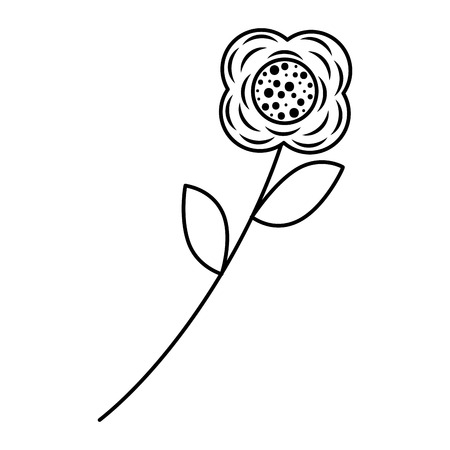 Flower stem leaves nature petals decoration vector illustration outline image Illusztráció