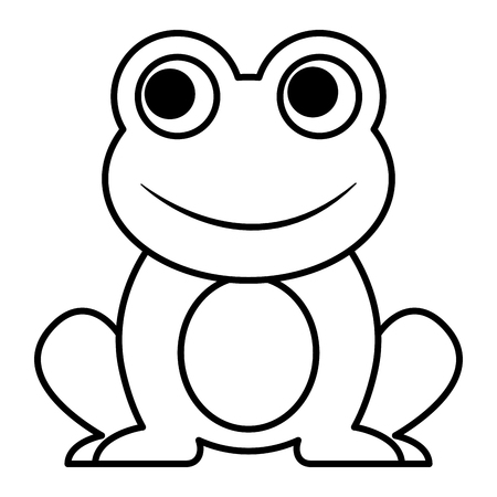 Frog cute animal sitting cartoon vector illustration outline image