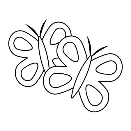 귀여운 나비 봄 동물 개요 벡터 일러스트 레이션 일러스트