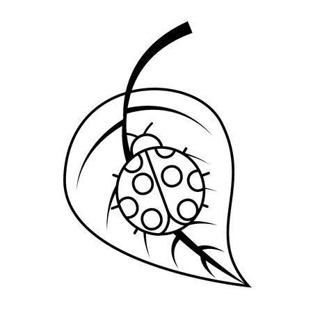 ladybug on leaf spring time vector illustration outline image