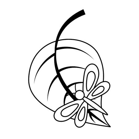 big leaf with butterfly nature vector illustration outline image Illustration