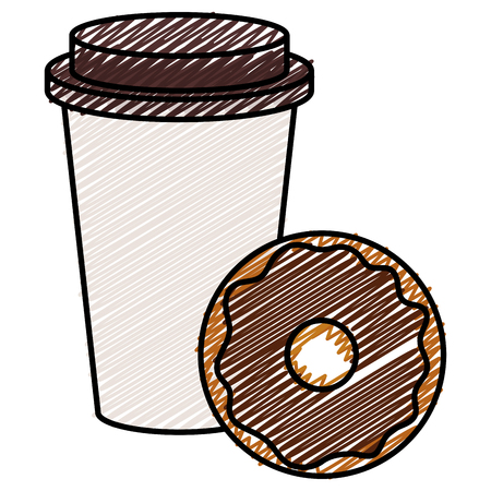 Coffee in plastic cup with donut vector illustration design Reklamní fotografie - 93881793