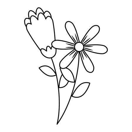 twee bloemen decoratieve lente afbeelding vector illustratie schets ontwerp
