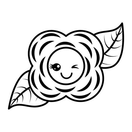 꽃 카와이 만화 자연 흑백 이미지 벡터 일러스트 개요 이미지 일러스트