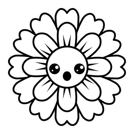 flower kawaii cartoon cute petals vector illustration outline image