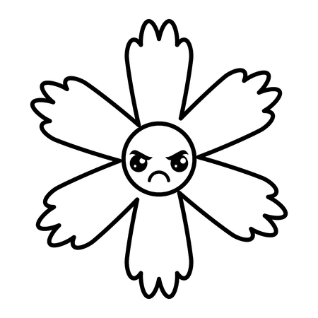 cute angry flower cartoon vector illustration outline image