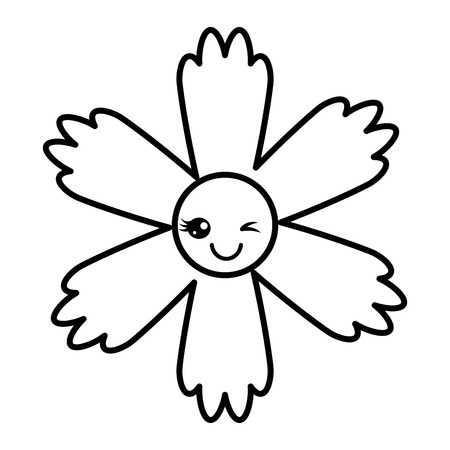 cute flower wink cartoon vector illustration outline image