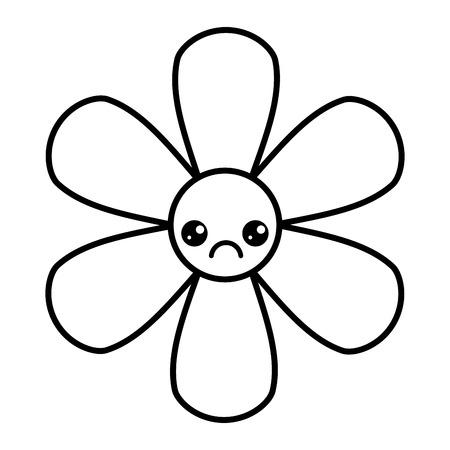 花漫画ボタニカルアイコンベクトルイラストアウトライン画像
