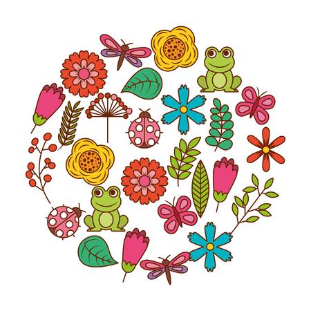 春のテーマ自然の花のセットは鳥が大好きな蝶レディバグカエルトンボベクトルイラスト