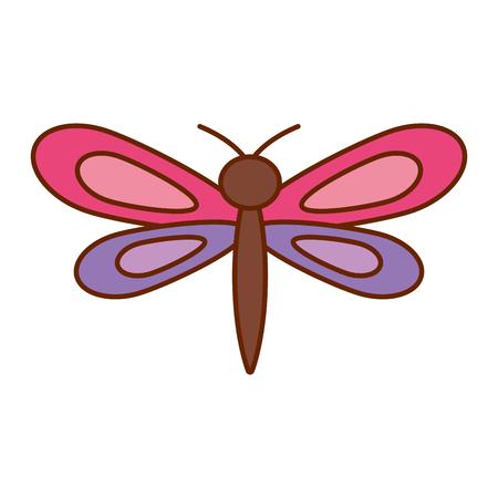 en paarse dragonfly insect lente seizoen vector illustratie Stock Illustratie