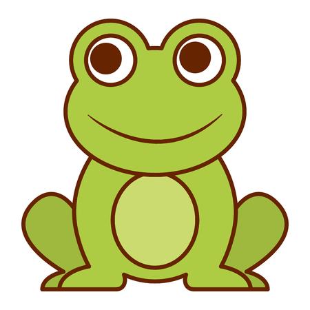 개구리 귀여운 동물 앉아 만화 벡터 일러스트 레이션