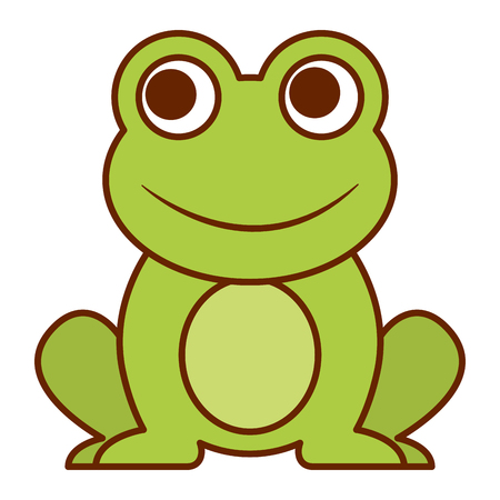 frog cute animal sitting cartoon vector illustration