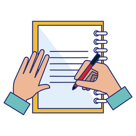 note book with hand writen vector illustration design