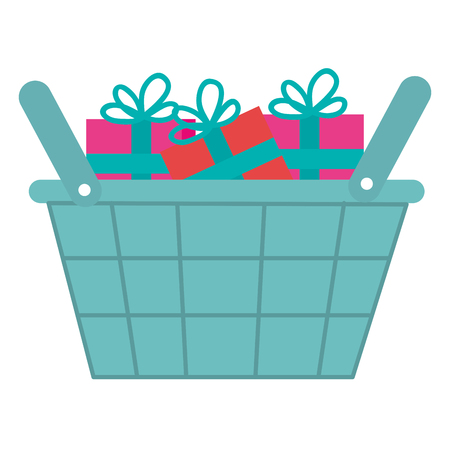 shopping basket with gifts vector illustration design