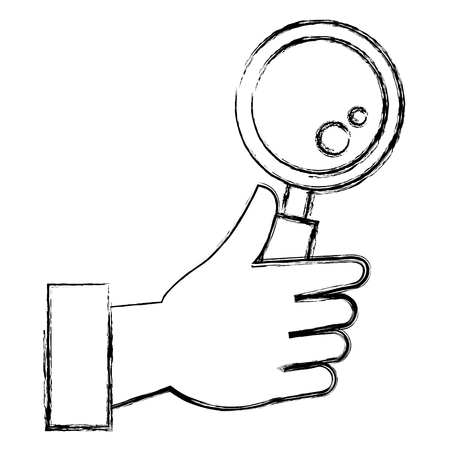 hand with magnifying glass isolated icon vector illustration design
