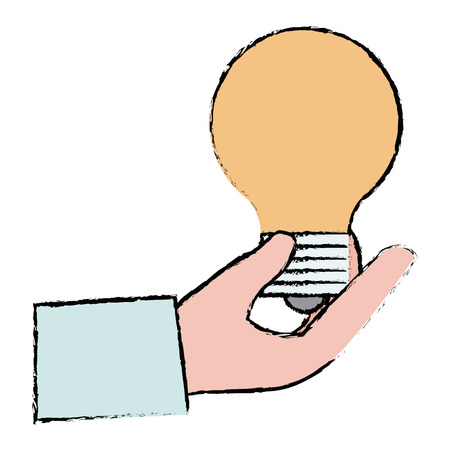 Hand with bulb light isolated icon vector illustration design.