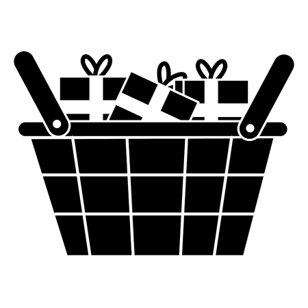 Shopping basket with gifts vector illustration design.