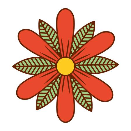 flower and leaves floral botanical natural spring image vector illustration Illustration