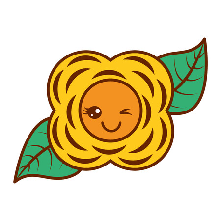 yellow flower  cartoon natural vector illustration