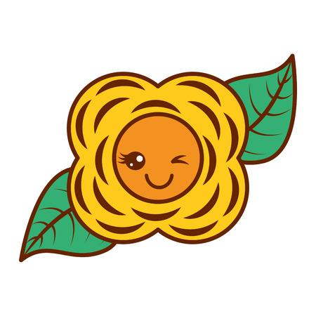 yellow flower  cartoon natural vector illustration Reklamní fotografie - 93894021