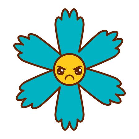 cute blue flower  cartoon vector illustration Illustration