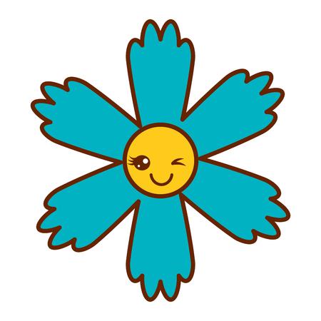 귀여운 푸른 꽃 만화 벡터 일러스트 레이션