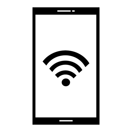 Smartphone device with wifi signal vector illustration design