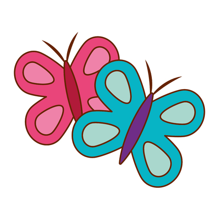 cute butterflies spring animal outline vector illustration  イラスト・ベクター素材