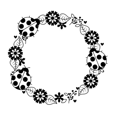 Beautiful floral wreath with spring flowers leaves vector beautiful floral wreath with spring flowers leaves vector illustration outline image stock vector 93892366 mightylinksfo