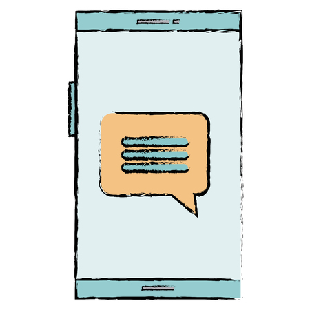 Smartphone device with speech bubbles vector illustration design.