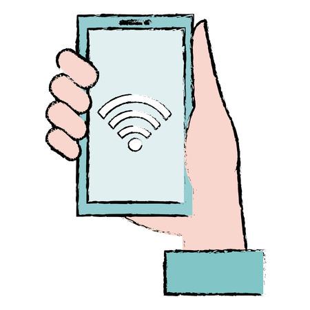 Hand with smartphone device vector illustration design Illustration