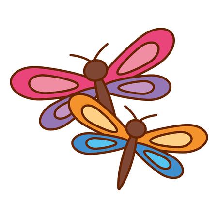 Two dragonflies cute animal cartoon vector illustration. Vettoriali