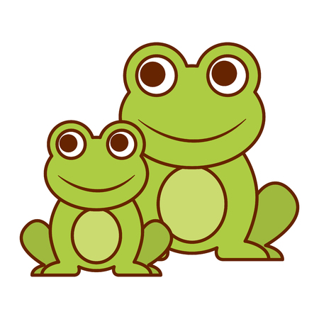 Frogs cute animal sitting cartoon vector illustration.