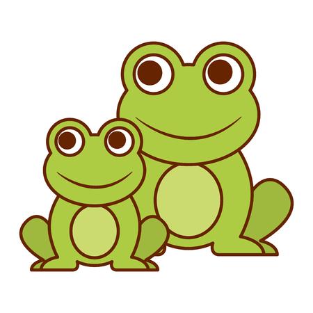 Frogs cute animal sitting cartoon vector illustration.