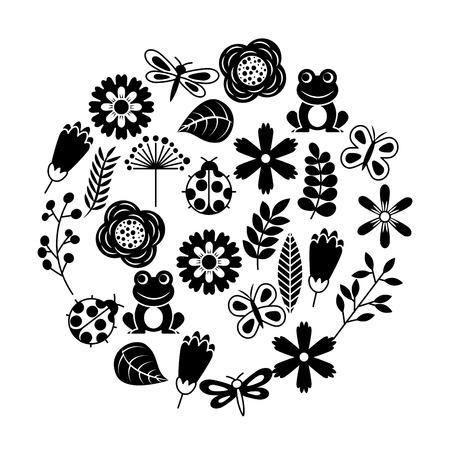 Set van lente thema aard bloemen liefde vogels vlinders lieveheersbeestjes kikker libel vectorillustratie.