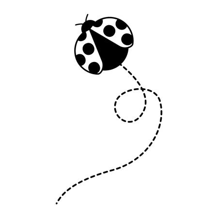 かわいいフライングレディバグ動物漫画ベクトルイラスト 写真素材 - 93892638