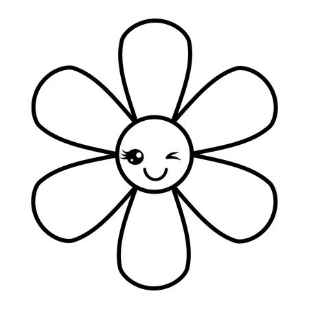 flower kawaii cartoon botanical icon vector illustration outline image