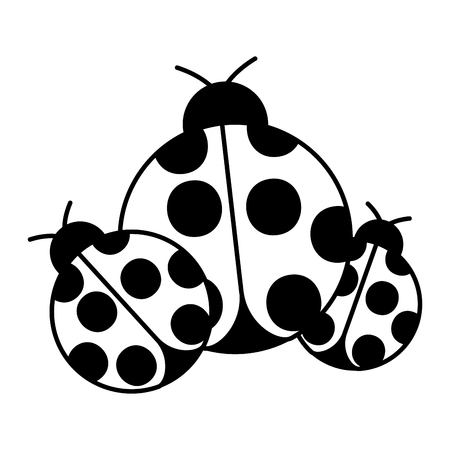 ladybugs insect small icon animal vector illustration